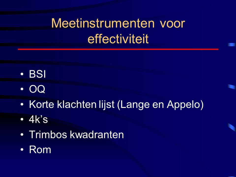 Meetinstrumenten voor effectiviteit BSI OQ Korte klachten lijst (Lange en Appelo) 4k's Trimbos kwadranten Rom