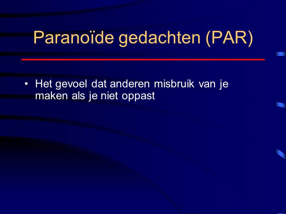 Paranoïde gedachten (PAR) Het gevoel dat anderen misbruik van je maken als je niet oppast