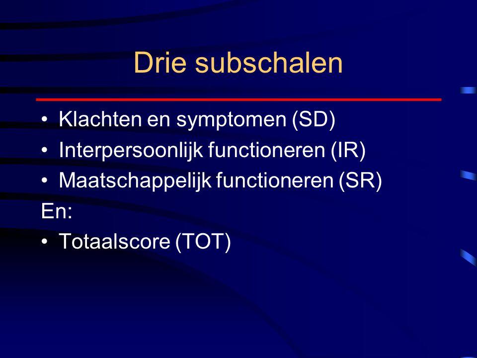 Drie subschalen Klachten en symptomen (SD) Interpersoonlijk functioneren (IR) Maatschappelijk functioneren (SR) En: Totaalscore (TOT)