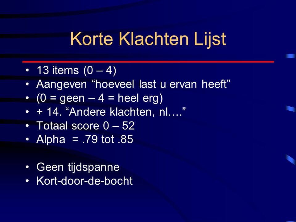 """Korte Klachten Lijst 13 items (0 – 4) Aangeven """"hoeveel last u ervan heeft"""" (0 = geen – 4 = heel erg) + 14. """"Andere klachten, nl…."""" Totaal score 0 – 5"""