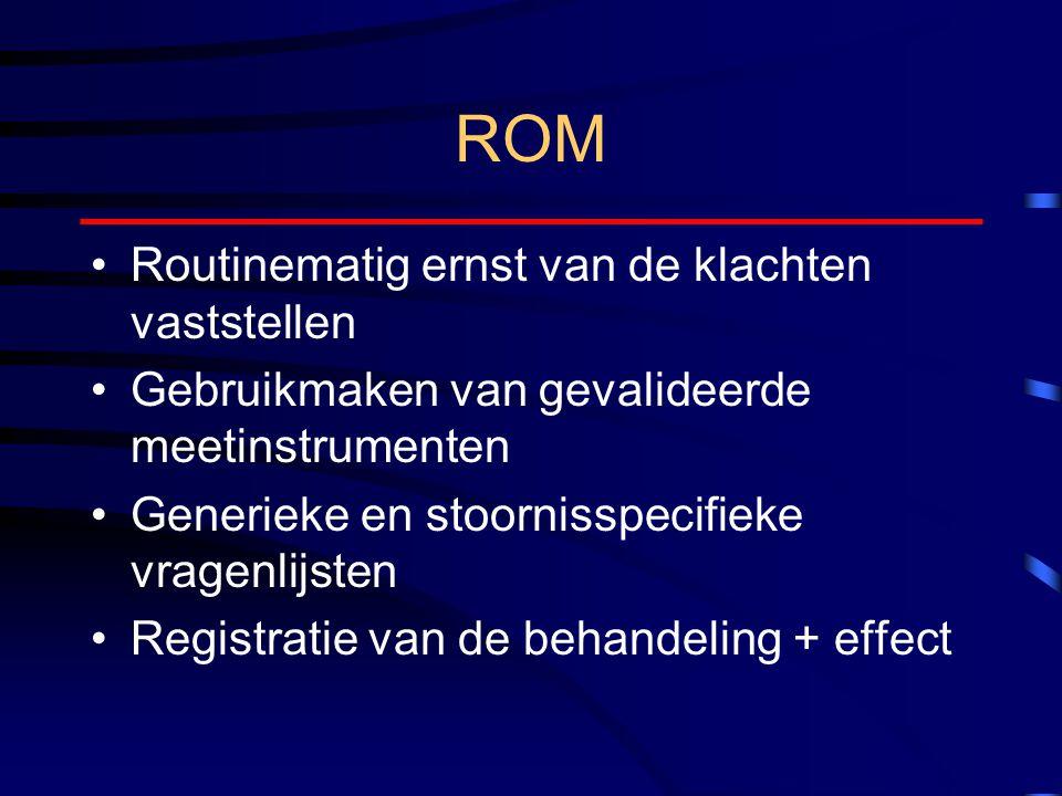 ROM Routinematig ernst van de klachten vaststellen Gebruikmaken van gevalideerde meetinstrumenten Generieke en stoornisspecifieke vragenlijsten Registratie van de behandeling + effect