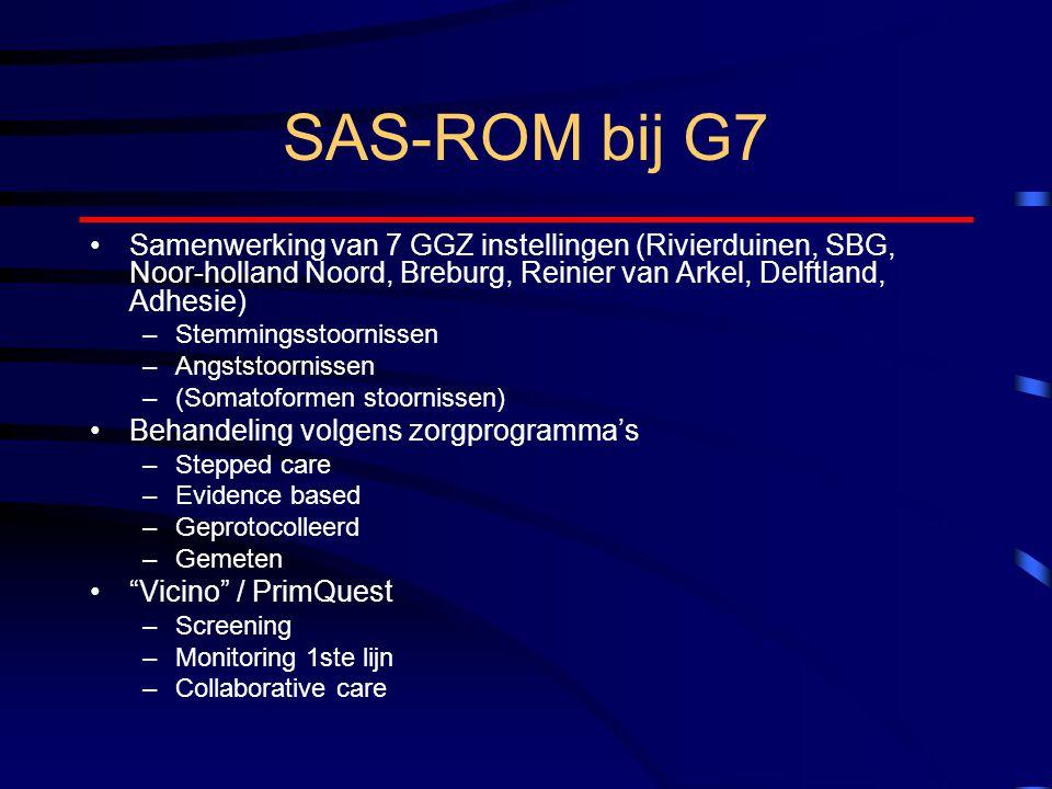 SAS-ROM bij G7 Samenwerking van 7 GGZ instellingen (Rivierduinen, SBG, Noor-holland Noord, Breburg, Reinier van Arkel, Delftland, Adhesie) –Stemmingsstoornissen –Angststoornissen –(Somatoformen stoornissen) Behandeling volgens zorgprogramma's –Stepped care –Evidence based –Geprotocolleerd –Gemeten Vicino / PrimQuest –Screening –Monitoring 1ste lijn –Collaborative care