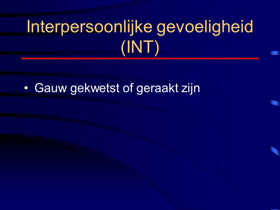 Interpersoonlijke gevoeligheid (INT) Gauw gekwetst of geraakt zijn