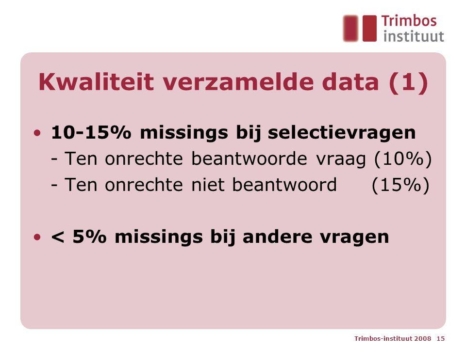 Trimbos-instituut 2008 15 Kwaliteit verzamelde data (1) 10-15% missings bij selectievragen - Ten onrechte beantwoorde vraag (10%) - Ten onrechte niet beantwoord (15%) < 5% missings bij andere vragen
