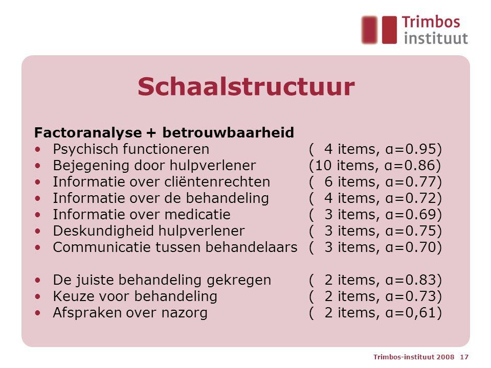 Trimbos-instituut 2008 17 Schaalstructuur Factoranalyse + betrouwbaarheid Psychisch functioneren ( 4 items, α=0.95) Bejegening door hulpverlener (10 items, α=0.86) Informatie over cliëntenrechten ( 6 items, α=0.77) Informatie over de behandeling ( 4 items, α=0.72) Informatie over medicatie ( 3 items, α=0.69) Deskundigheid hulpverlener ( 3 items, α=0.75) Communicatie tussen behandelaars ( 3 items, α=0.70) De juiste behandeling gekregen ( 2 items, α=0.83) Keuze voor behandeling ( 2 items, α=0.73) Afspraken over nazorg( 2 items, α=0,61)