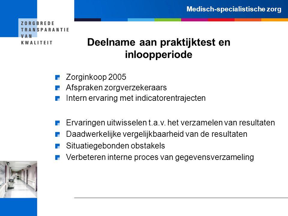 Medisch-specialistische zorg Deelname aan praktijktest en inloopperiode Zorginkoop 2005 Afspraken zorgverzekeraars Intern ervaring met indicatorentraj