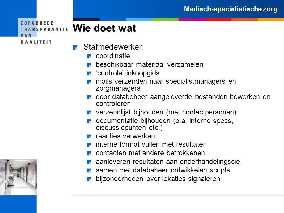 Medisch-specialistische zorg Wie doet wat Stafmedewerker: coördinatie beschikbaar materiaal verzamelen 'controle' inkoopgids mails verzenden naar spec