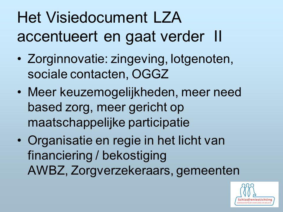Het Visiedocument LZA accentueert en gaat verder II Zorginnovatie: zingeving, lotgenoten, sociale contacten, OGGZ Meer keuzemogelijkheden, meer need b