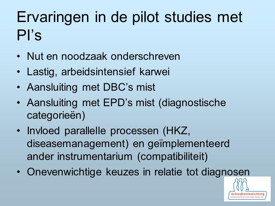 Ervaringen in de pilot studies met PI's Nut en noodzaak onderschreven Lastig, arbeidsintensief karwei Aansluiting met DBC's mist Aansluiting met EPD's