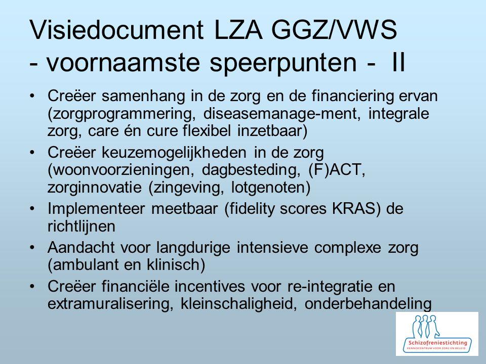 Visiedocument LZA GGZ/VWS - voornaamste speerpunten - II Creëer samenhang in de zorg en de financiering ervan (zorgprogrammering, diseasemanage-ment, integrale zorg, care én cure flexibel inzetbaar) Creëer keuzemogelijkheden in de zorg (woonvoorzieningen, dagbesteding, (F)ACT, zorginnovatie (zingeving, lotgenoten) Implementeer meetbaar (fidelity scores KRAS) de richtlijnen Aandacht voor langdurige intensieve complexe zorg (ambulant en klinisch) Creëer financiële incentives voor re-integratie en extramuralisering, kleinschaligheid, onderbehandeling