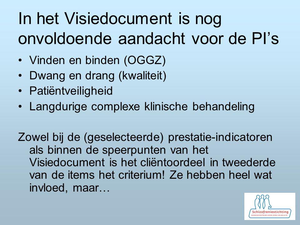 In het Visiedocument is nog onvoldoende aandacht voor de PI's Vinden en binden (OGGZ) Dwang en drang (kwaliteit) Patiëntveiligheid Langdurige complexe
