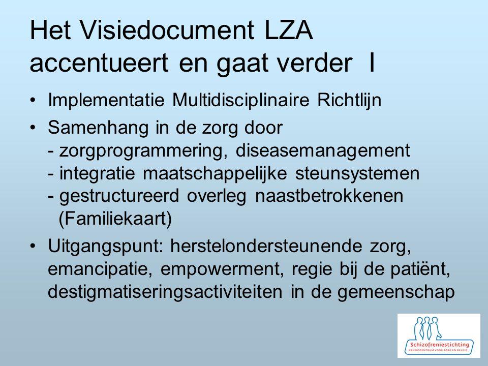 Het Visiedocument LZA accentueert en gaat verder I Implementatie Multidisciplinaire Richtlijn Samenhang in de zorg door - zorgprogrammering, diseasemanagement - integratie maatschappelijke steunsystemen - gestructureerd overleg naastbetrokkenen (Familiekaart) Uitgangspunt: herstelondersteunende zorg, emancipatie, empowerment, regie bij de patiënt, destigmatiseringsactiviteiten in de gemeenschap