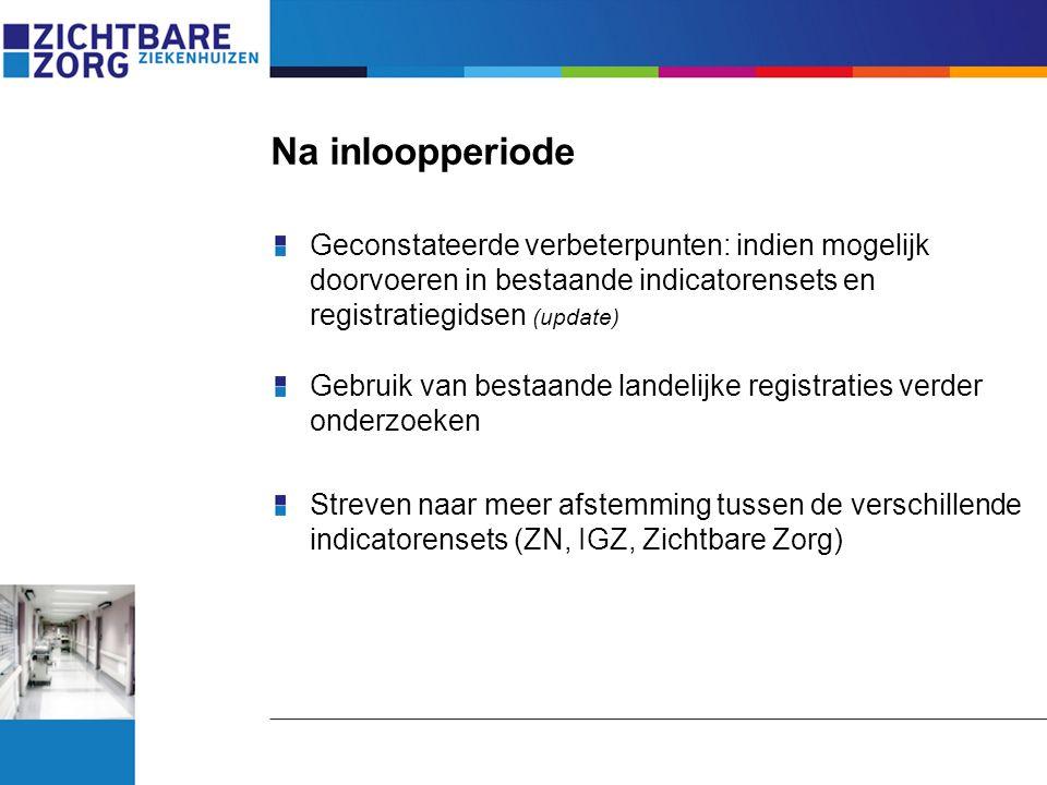 Na inloopperiode Geconstateerde verbeterpunten: indien mogelijk doorvoeren in bestaande indicatorensets en registratiegidsen (update) Gebruik van best