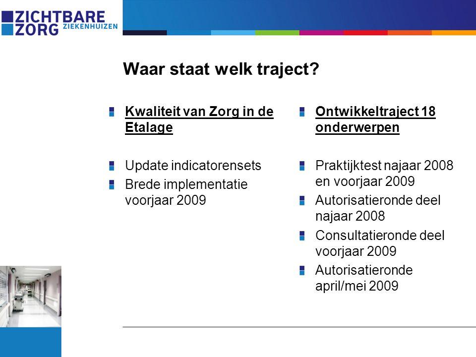 Waar staat welk traject? Kwaliteit van Zorg in de Etalage Update indicatorensets Brede implementatie voorjaar 2009 Ontwikkeltraject 18 onderwerpen Pra