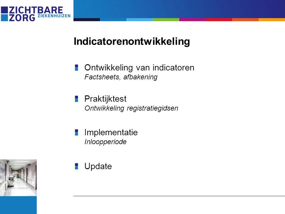 Indicatorenontwikkeling Ontwikkeling van indicatoren Factsheets, afbakening Praktijktest Ontwikkeling registratiegidsen Implementatie Inloopperiode Up