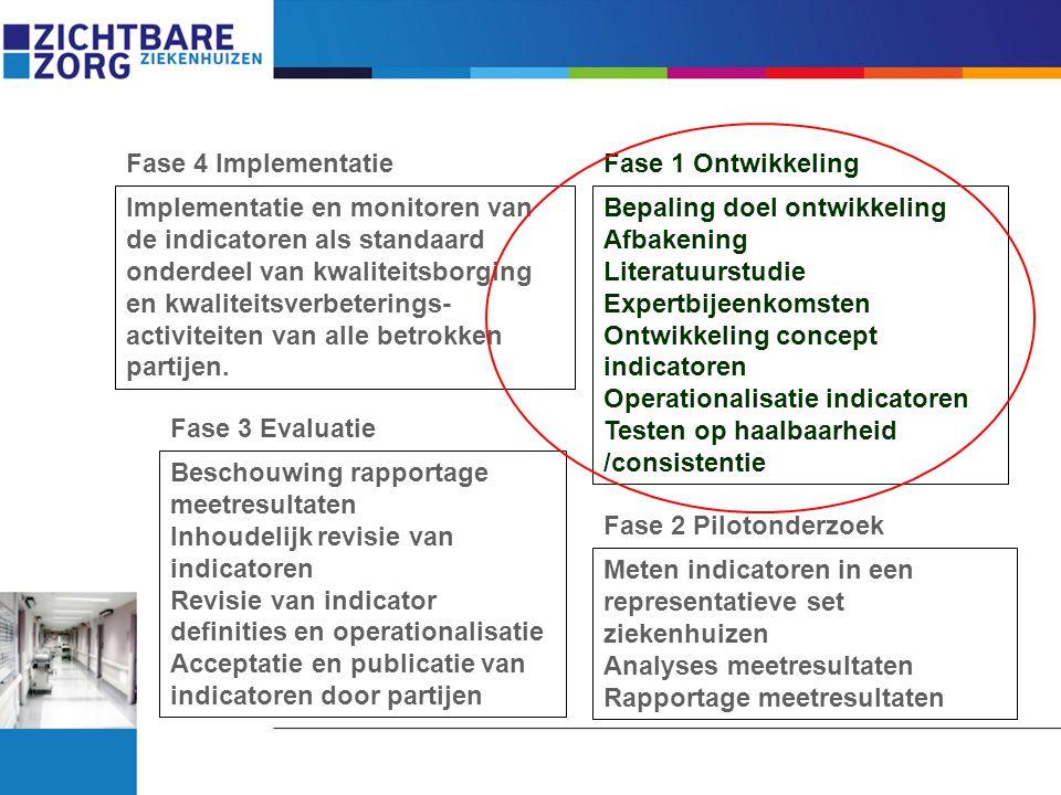 Fase 1 Ontwikkeling Fase 2 Pilotonderzoek Beschouwing rapportage meetresultaten Inhoudelijk revisie van indicatoren Revisie van indicator definities e