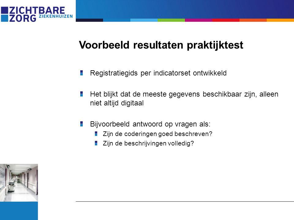 Voorbeeld resultaten praktijktest Registratiegids per indicatorset ontwikkeld Het blijkt dat de meeste gegevens beschikbaar zijn, alleen niet altijd d