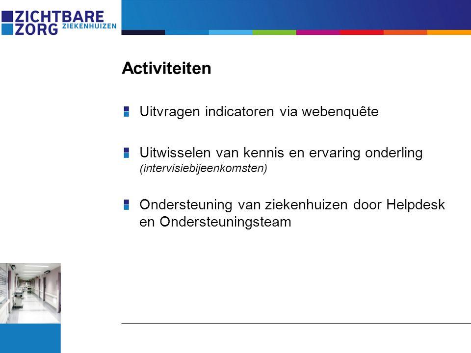 Activiteiten Uitvragen indicatoren via webenquête Uitwisselen van kennis en ervaring onderling (intervisiebijeenkomsten) Ondersteuning van ziekenhuize