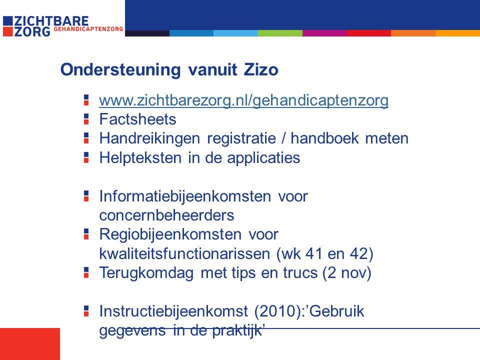 Ondersteuning vanuit Zizo www.zichtbarezorg.nl/gehandicaptenzorg Factsheets Handreikingen registratie / handboek meten Helpteksten in de applicaties Informatiebijeenkomsten voor concernbeheerders Regiobijeenkomsten voor kwaliteitsfunctionarissen (wk 41 en 42) Terugkomdag met tips en trucs (2 nov) Instructiebijeenkomst (2010):'Gebruik gegevens in de praktijk'
