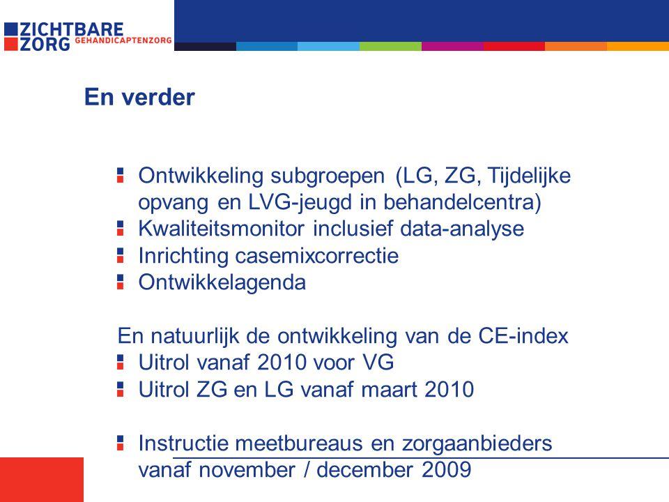En verder Ontwikkeling subgroepen (LG, ZG, Tijdelijke opvang en LVG-jeugd in behandelcentra) Kwaliteitsmonitor inclusief data-analyse Inrichting casem