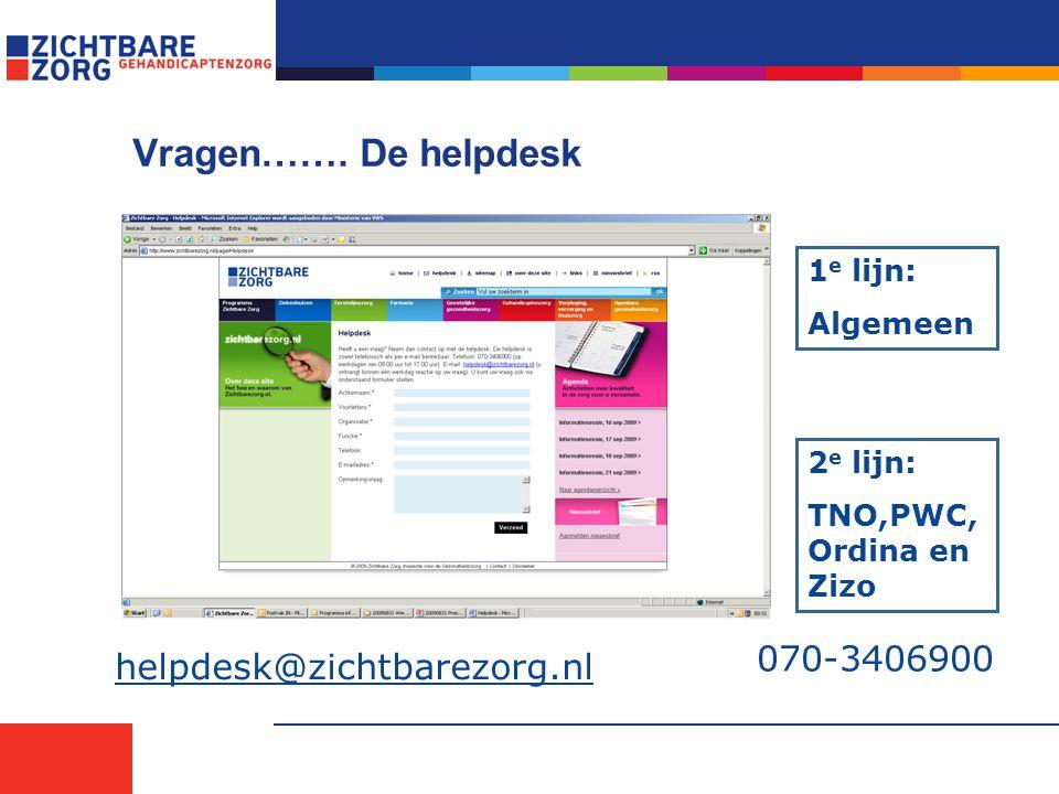 Vragen……. De helpdesk 070-3406900 helpdesk@zichtbarezorg.nl 2 e lijn: TNO,PWC, Ordina en Zizo 1 e lijn: Algemeen
