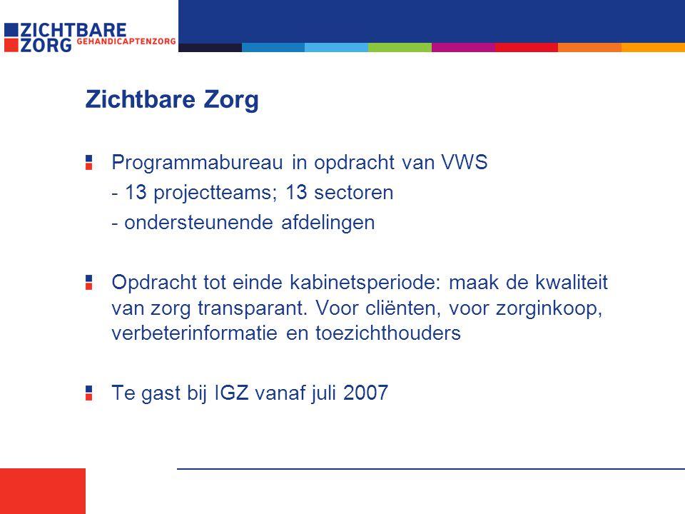 Zichtbare Zorg Programmabureau in opdracht van VWS - 13 projectteams; 13 sectoren - ondersteunende afdelingen Opdracht tot einde kabinetsperiode: maak de kwaliteit van zorg transparant.