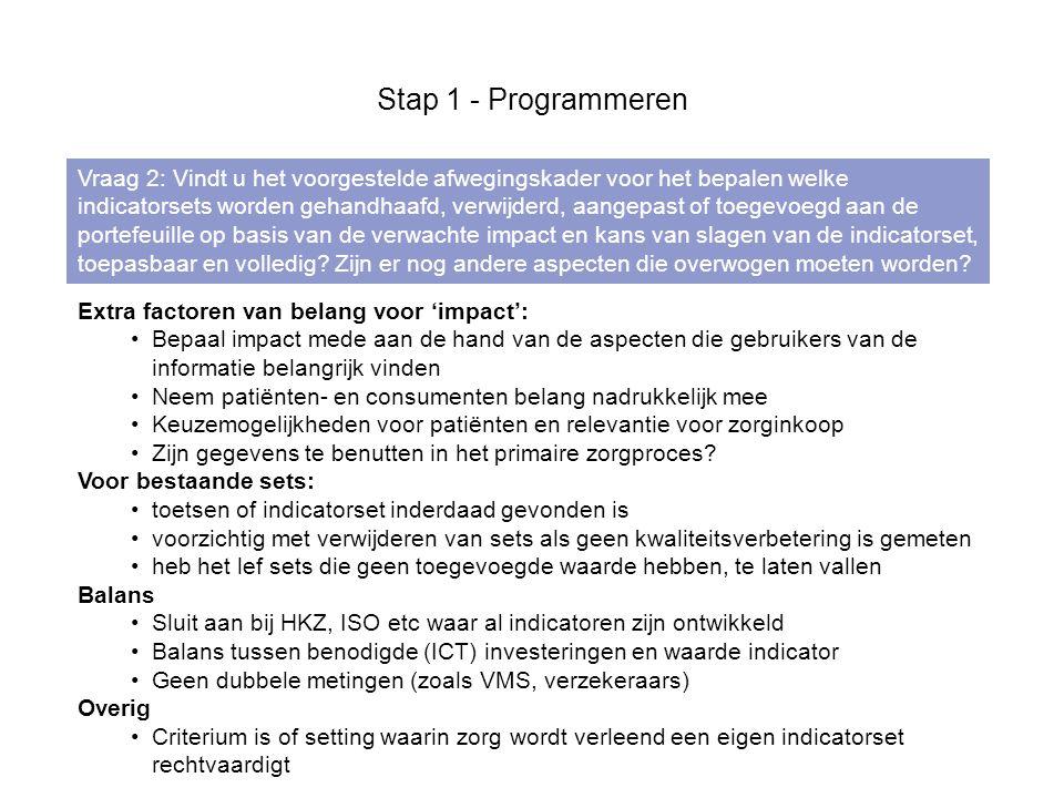 De stap 'Definiëren' leidt in 5 substappen tot een concept-indicatorset die kan worden getest 1.Voorbereiden - samenstellen van een indicatorteam, aanscherpen van de doelen van de indicatorset en opstellen van een projectplan.