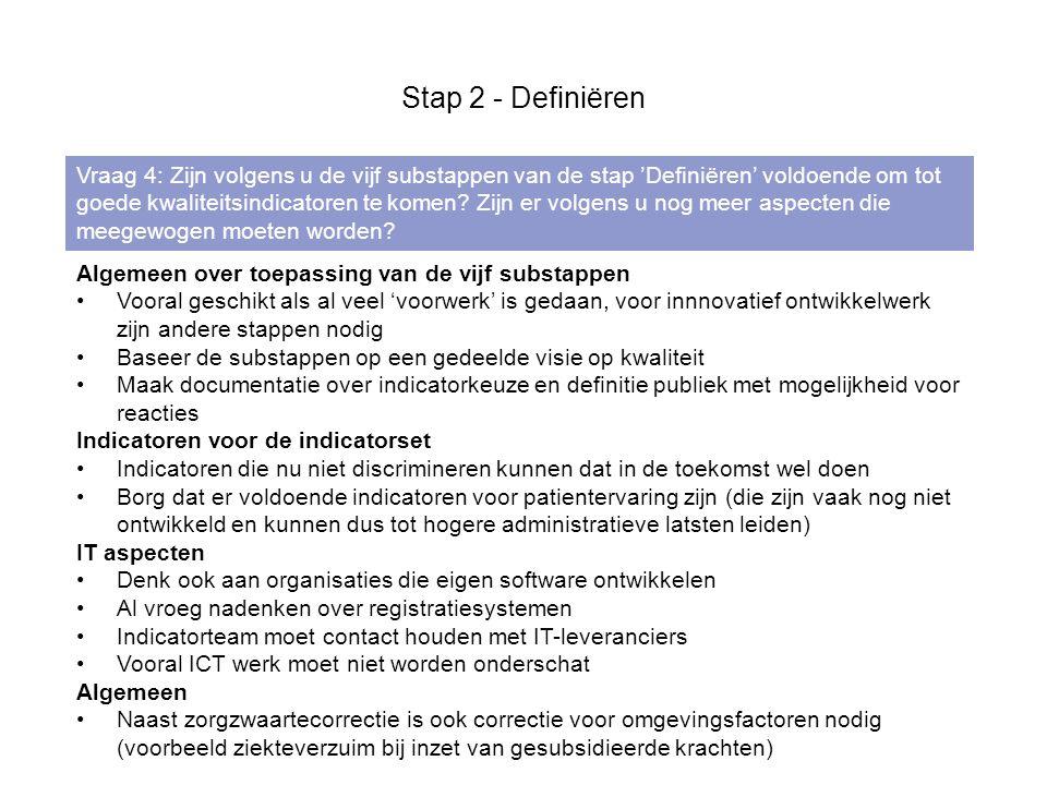 Stap 2 - Definiëren Vraag 4: Zijn volgens u de vijf substappen van de stap 'Definiëren' voldoende om tot goede kwaliteitsindicatoren te komen.