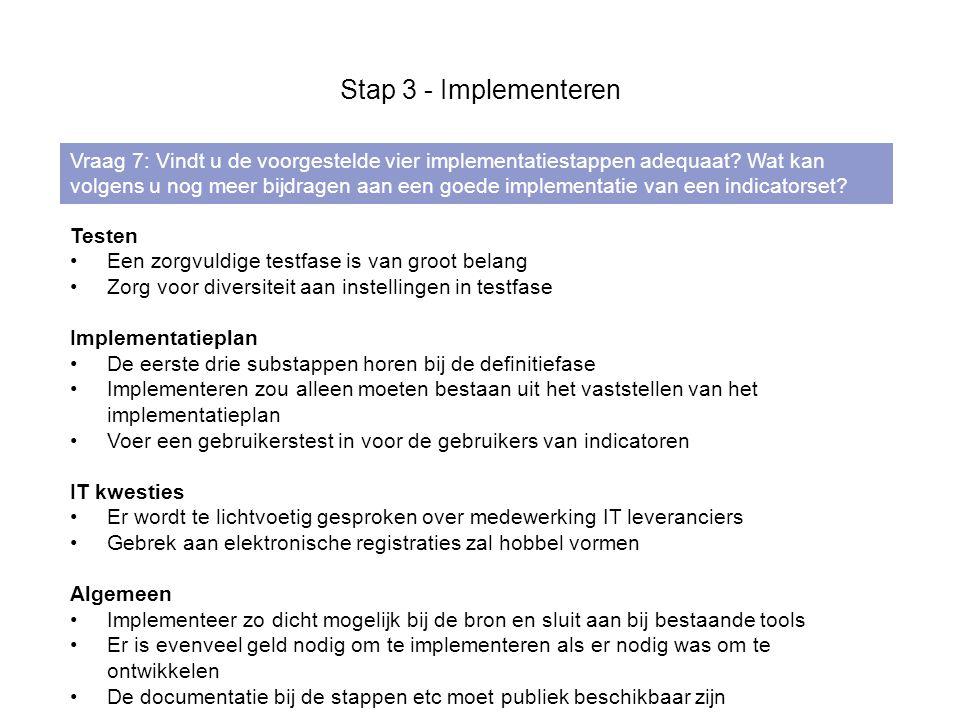 Stap 3 - Implementeren Vraag 7: Vindt u de voorgestelde vier implementatiestappen adequaat.