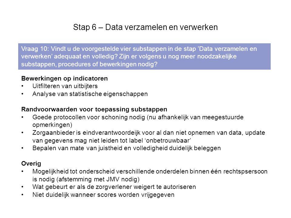 Stap 6 – Data verzamelen en verwerken Vraag 10: Vindt u de voorgestelde vier substappen in de stap 'Data verzamelen en verwerken' adequaat en volledig.