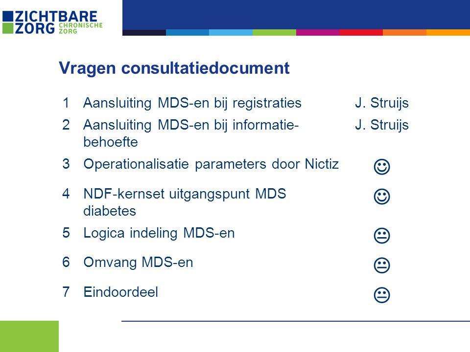 Vragen consultatiedocument 1Aansluiting MDS-en bij registratiesJ. Struijs 2Aansluiting MDS-en bij informatie- behoefte J. Struijs 3Operationalisatie p