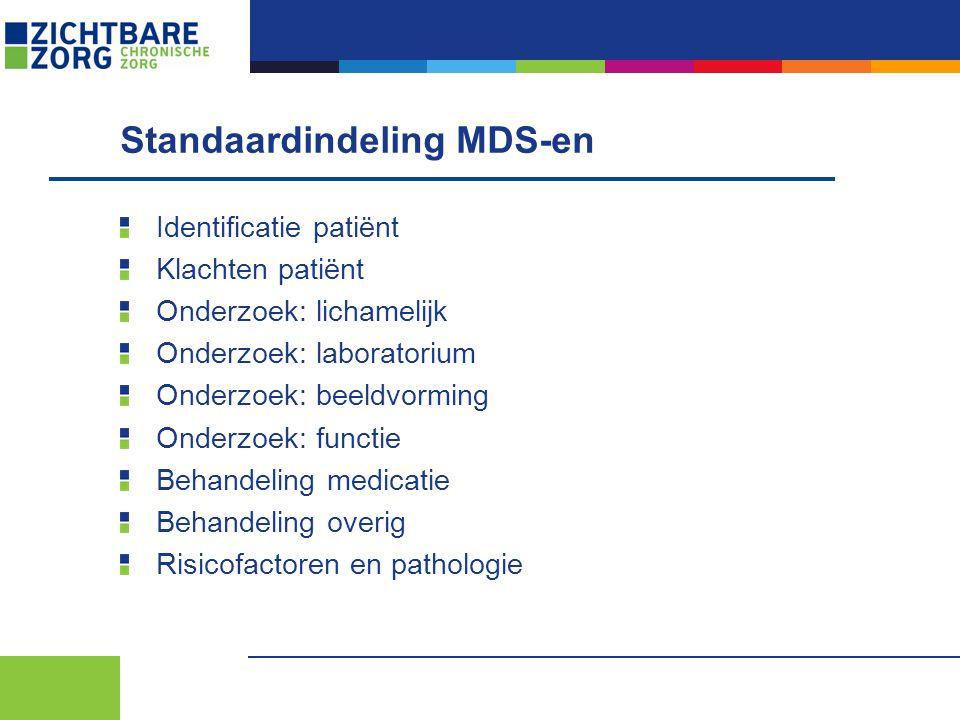 Standaardindeling MDS-en Identificatie patiënt Klachten patiënt Onderzoek: lichamelijk Onderzoek: laboratorium Onderzoek: beeldvorming Onderzoek: func