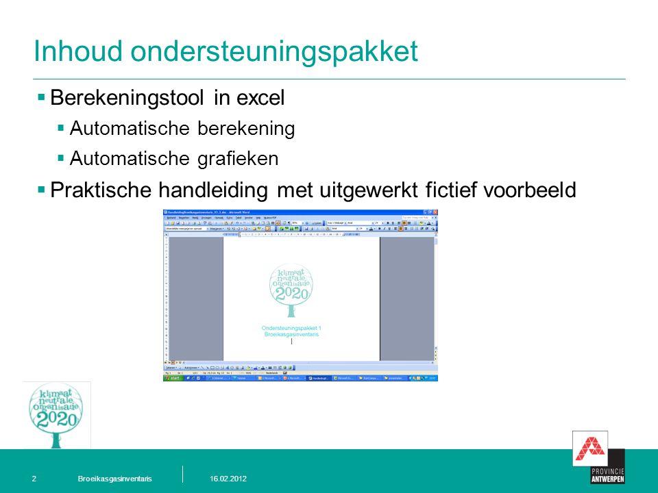 Broeikasgasinventaris16.02.20122 Inhoud ondersteuningspakket  Berekeningstool in excel  Automatische berekening  Automatische grafieken  Praktische handleiding met uitgewerkt fictief voorbeeld