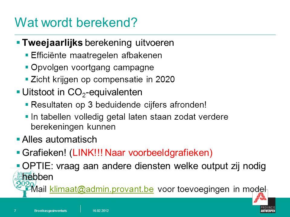 Broeikasgasinventaris16.02.20127 Wat wordt berekend.