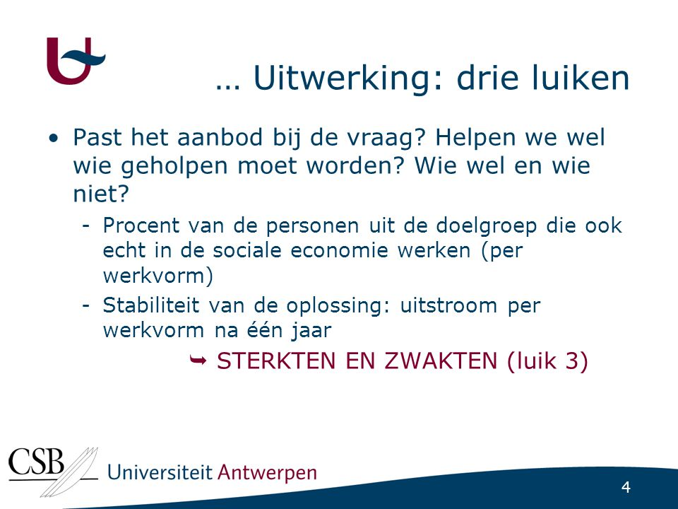 5 Uitwerking: kansengroepen (Bijna) Alle gegevens worden opgesplitst naar: -Leeftijd (<25, 25-49, 50+) -Geslacht -Arbeidshandicap of niet -Etnische origine (EU, niet-EU)