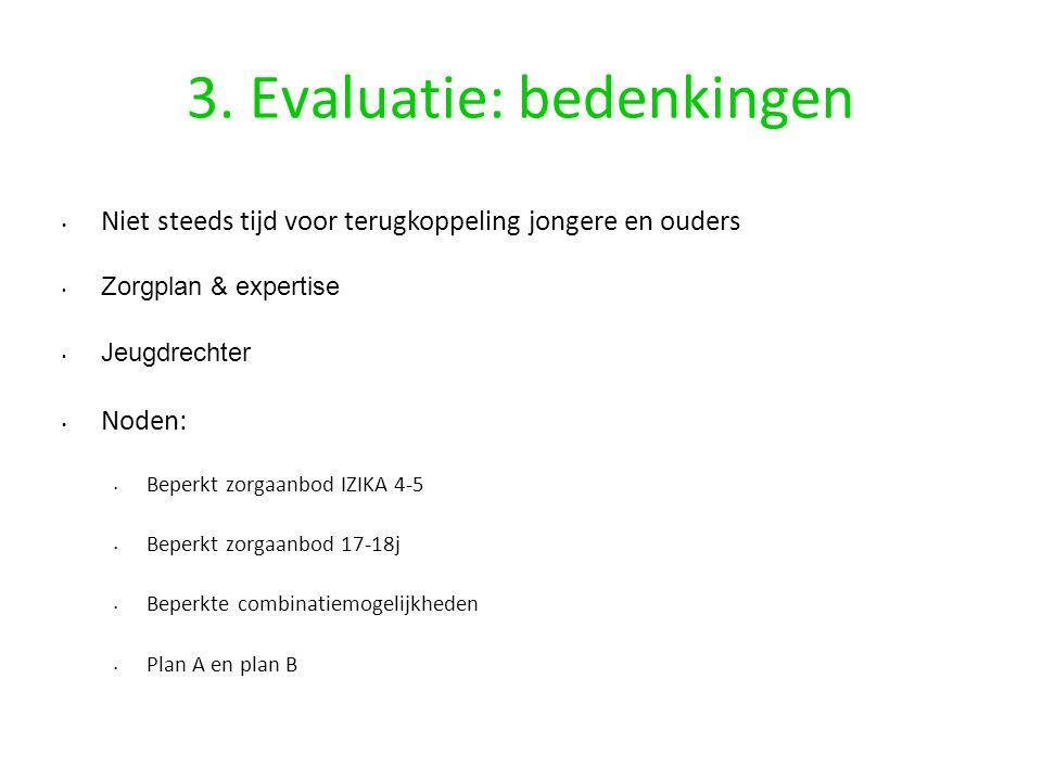3. Evaluatie: bedenkingen Niet steeds tijd voor terugkoppeling jongere en ouders Zorgplan & expertise Jeugdrechter Noden: Beperkt zorgaanbod IZIKA 4-5