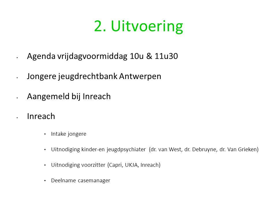 2. Uitvoering Agenda vrijdagvoormiddag 10u & 11u30 Jongere jeugdrechtbank Antwerpen Aangemeld bij Inreach Inreach Intake jongere Uitnodiging kinder-en
