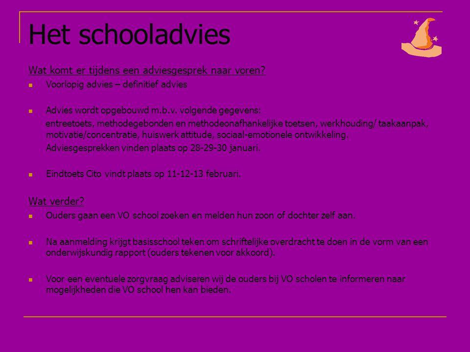 Het schooladvies Wat komt er tijdens een adviesgesprek naar voren.