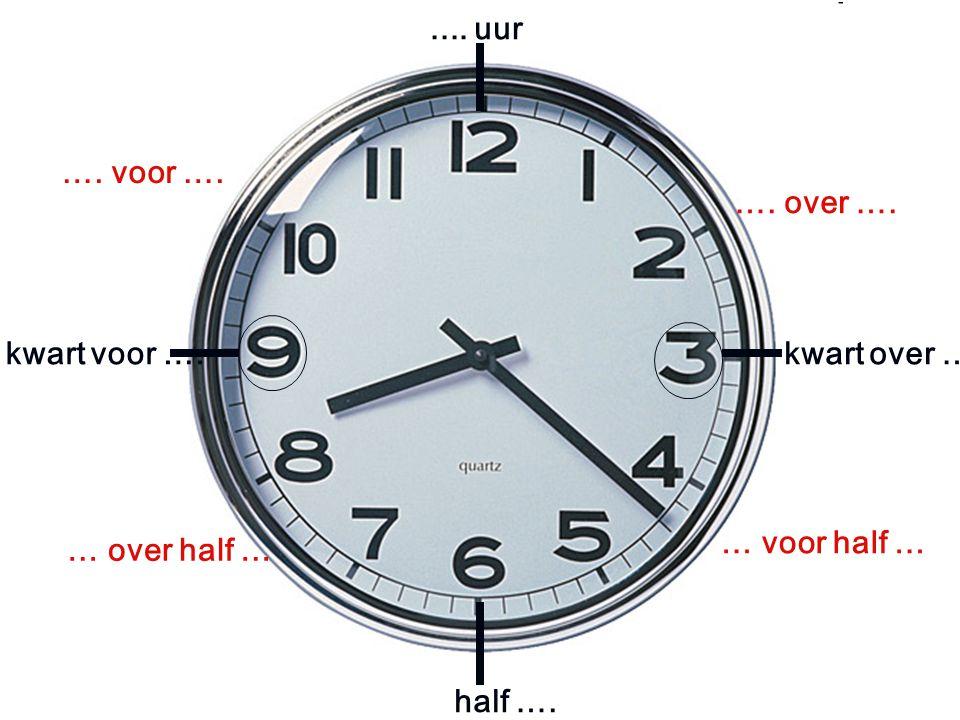.... uur kwart voor ….kwart over …. half ….