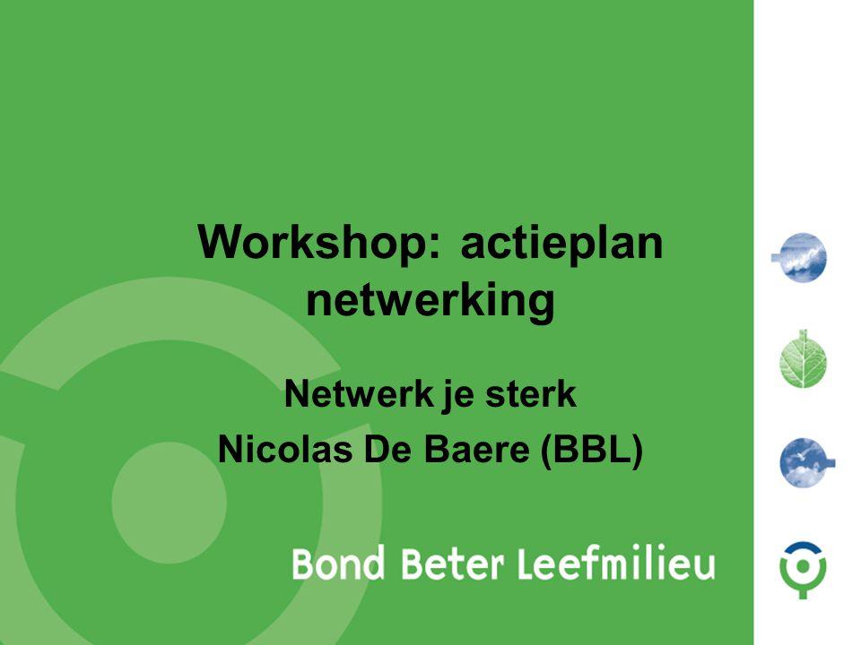 Workshop: actieplan netwerking Netwerk je sterk Nicolas De Baere (BBL)