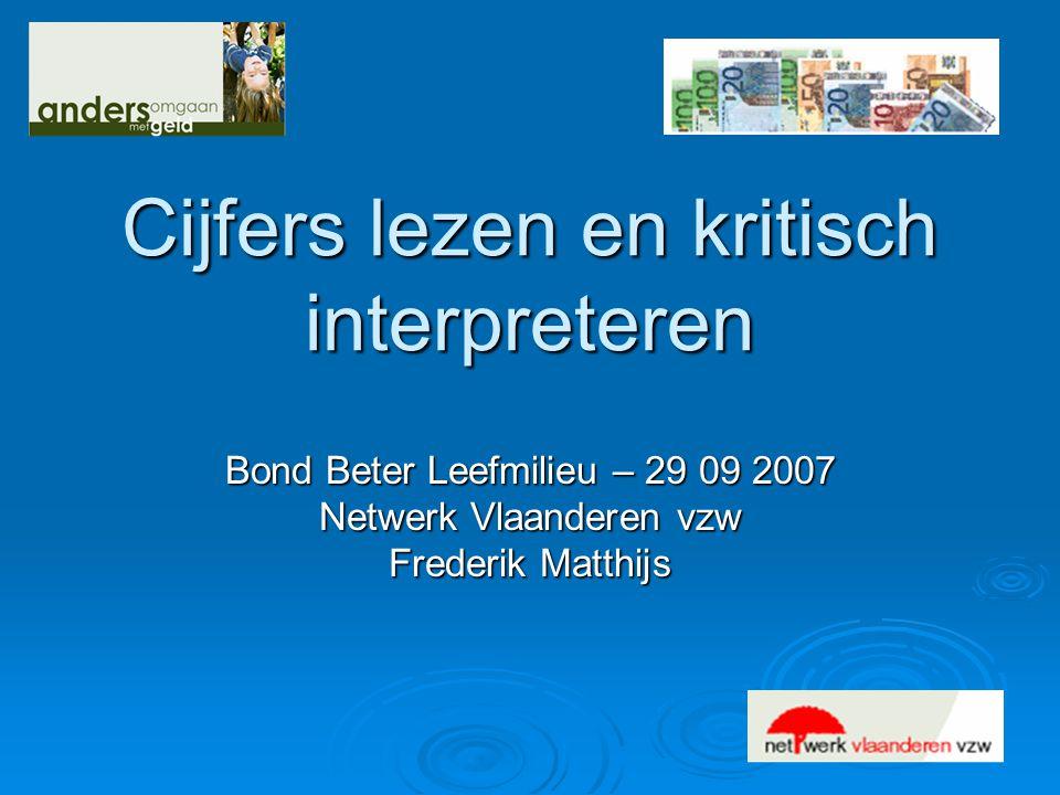Cijfers lezen en kritisch interpreteren Bond Beter Leefmilieu – 29 09 2007 Netwerk Vlaanderen vzw Frederik Matthijs