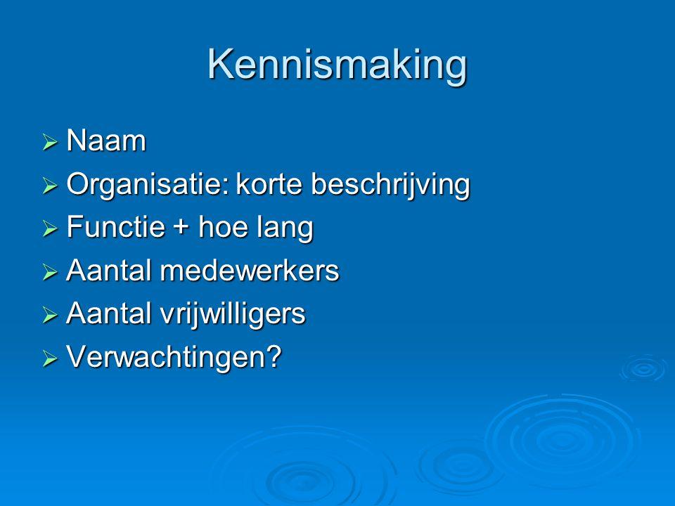 Kennismaking  Naam  Organisatie: korte beschrijving  Functie + hoe lang  Aantal medewerkers  Aantal vrijwilligers  Verwachtingen?
