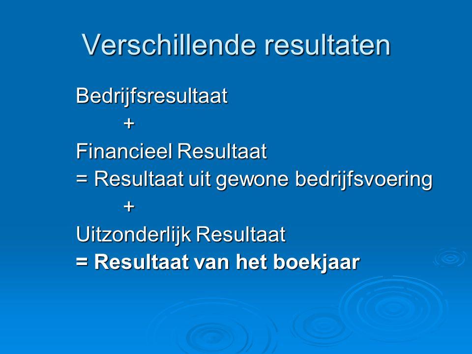 Verschillende resultaten Bedrijfsresultaat+ Financieel Resultaat = Resultaat uit gewone bedrijfsvoering + Uitzonderlijk Resultaat = Resultaat van het