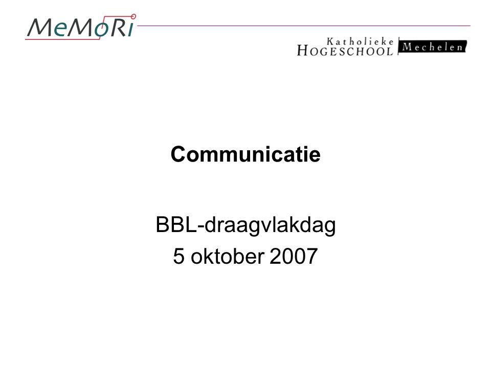 Communicatie BBL-draagvlakdag 5 oktober 2007