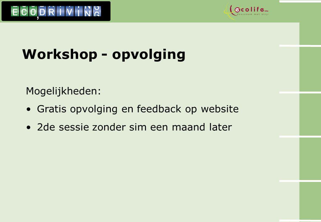 Workshop - opvolging Mogelijkheden: Gratis opvolging en feedback op website 2de sessie zonder sim een maand later