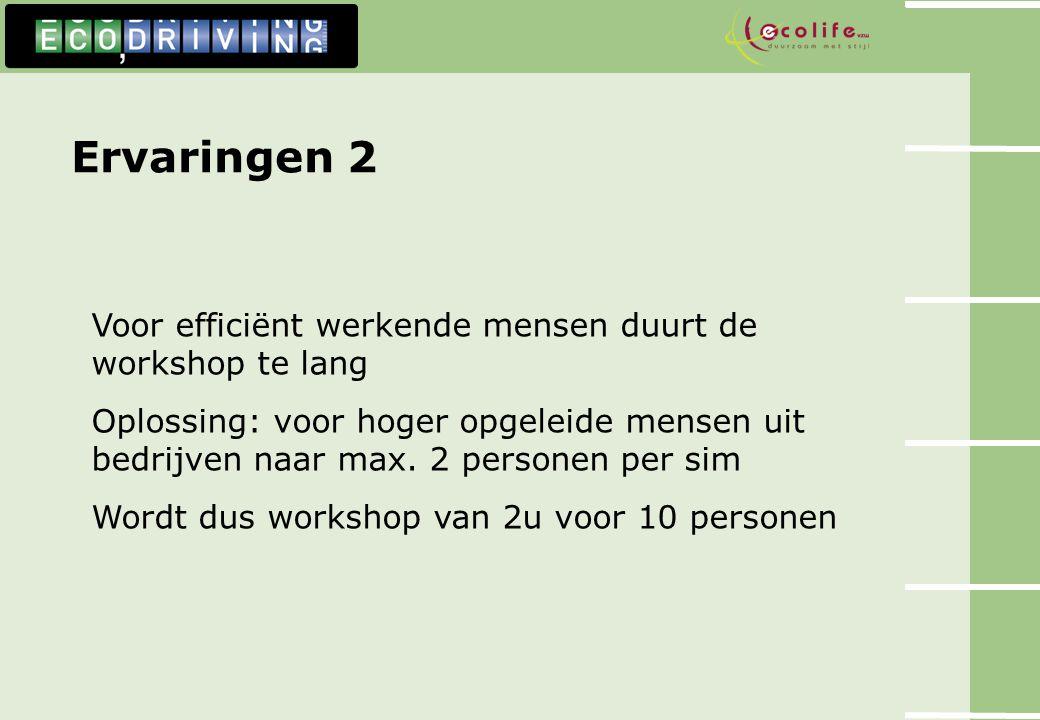 Ervaringen 2 Voor efficiënt werkende mensen duurt de workshop te lang Oplossing: voor hoger opgeleide mensen uit bedrijven naar max. 2 personen per si
