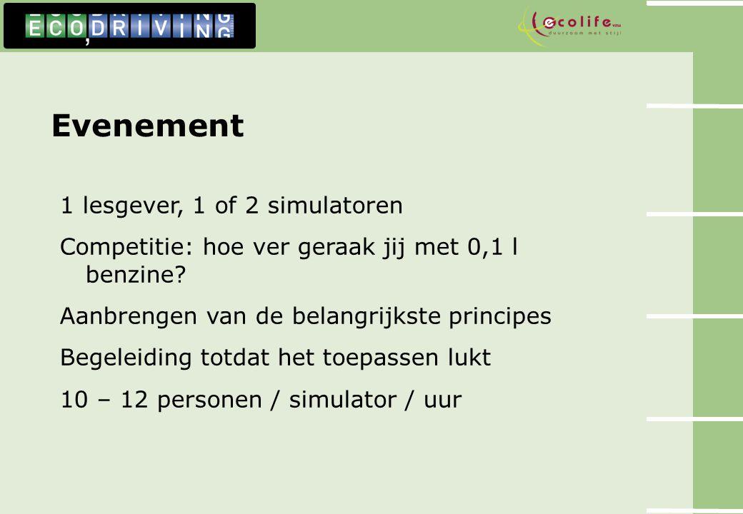 Evenement 1 lesgever, 1 of 2 simulatoren Competitie: hoe ver geraak jij met 0,1 l benzine? Aanbrengen van de belangrijkste principes Begeleiding totda