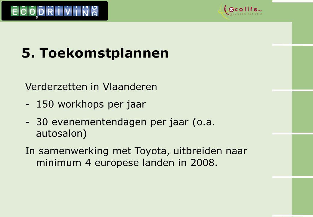 5. Toekomstplannen Verderzetten in Vlaanderen -150 workhops per jaar -30 evenementendagen per jaar (o.a. autosalon) In samenwerking met Toyota, uitbre