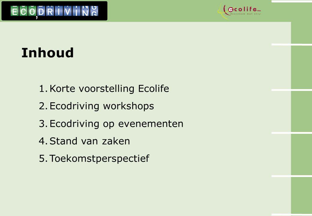 Inhoud 1.Korte voorstelling Ecolife 2.Ecodriving workshops 3.Ecodriving op evenementen 4.Stand van zaken 5.Toekomstperspectief