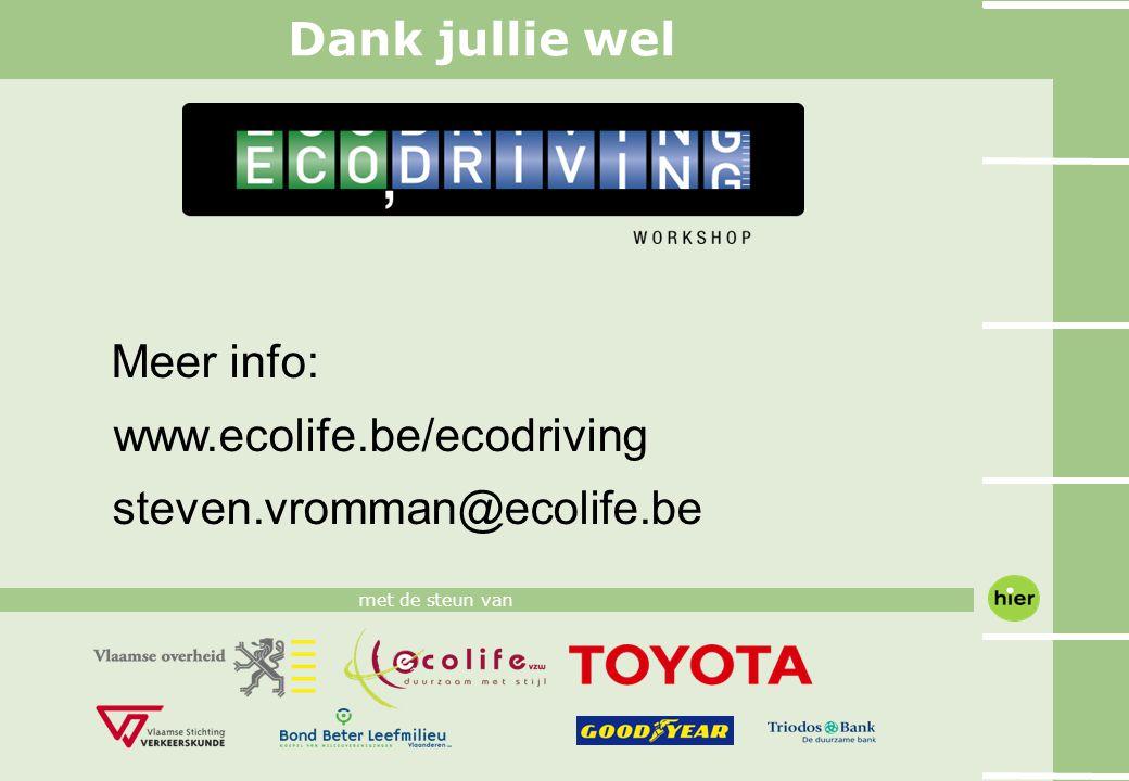 Meer info: www.ecolife.be/ecodriving steven.vromman@ecolife.be met de steun van Dank jullie wel
